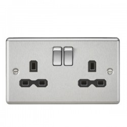 Knightsbridge Decorative Rounded Edge Brushed Chrome 13A 2 Gang DP Switched Socket - Black Insert