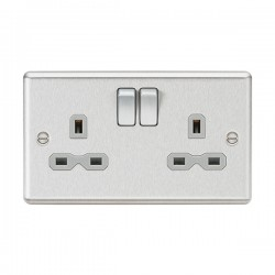 Knightsbridge Decorative Rounded Edge Brushed Chrome 13A 2 Gang DP Switched Socket - Grey Insert