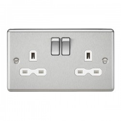 Knightsbridge Decorative Rounded Edge Brushed Chrome 13A 2 Gang DP Switched Socket - White Insert