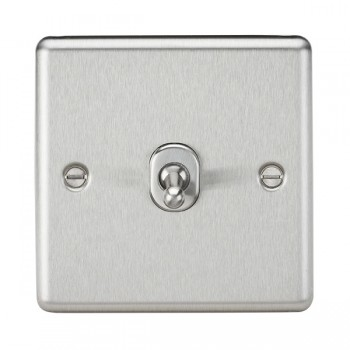 Knightsbridge Decorative Rounded Edge Brushed Chrome 10A 1 Gang Intermediate Toggle Switch