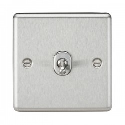 Knightsbridge Decorative Rounded Edge Brushed Chrome 10A 1 Gang 2 Way Toggle Switch