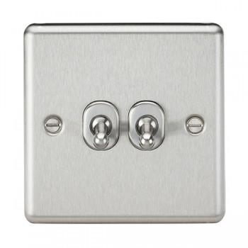 Knightsbridge Decorative Rounded Edge Brushed Chrome 10A 2 Gang 2 Way Toggle Switch