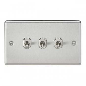 Knightsbridge Decorative Rounded Edge Brushed Chrome 10A 3 Gang 2 Way Toggle Switch