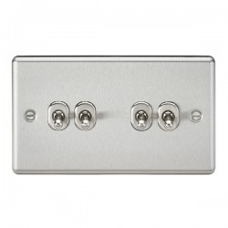 Knightsbridge Decorative Rounded Edge Brushed Chrome 10A 4 Gang 2 Way Toggle Switch