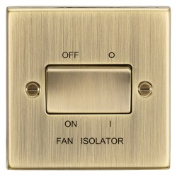 Knightsbridge Decorative Square Edge Antique Brass 10A 3 Pole Fan Isolator Switch