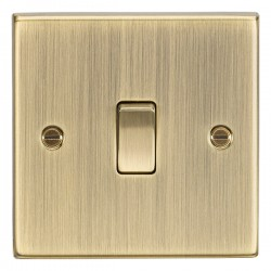Knightsbridge Decorative Square Edge Antique Brass 10A 1 Gang Intermediate Switch