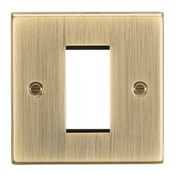 Knightsbridge Decorative Square Edge Antique Brass 1 Gang Modular Plate