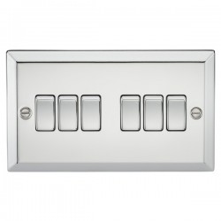 Knightsbridge Decorative Bevel Edge Polished Chrome 10A 6 Gang 2 Way Switch