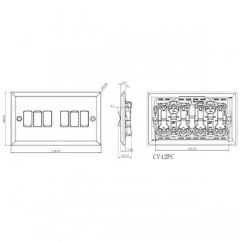 Knightsbridge Decorative Bevel Edge Polished Chrome 10A 6 Gang 2 Way Switch