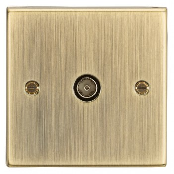 Knightsbridge Decorative Square Edge Antique Brass Non-Isolated TV Coaxial Outlet