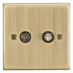 Knightsbridge Square Edge Antique Brass Isolated SAT/TV Outlet