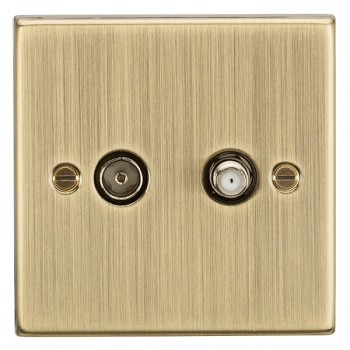 Knightsbridge Decorative Square Edge Antique Brass Isolated SAT/TV Outlet