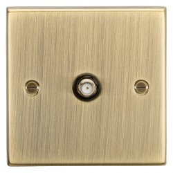 Knightsbridge Square Edge Antique Brass Non-Isolated Satellite Outlet