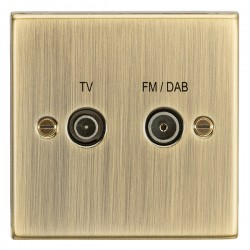 Knightsbridge Decorative Square Edge Antique Brass TV FM/DAB Screened Diplex Outlet