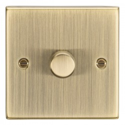 Knightsbridge Square Edge Antique Brass 1 Gang 2 Way 10-200W Dimmer