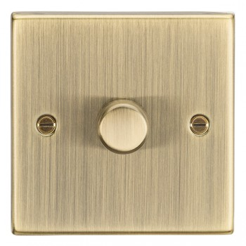 Knightsbridge Decorative Square Edge Antique Brass 1 Gang 2 Way 10-200W Dimmer