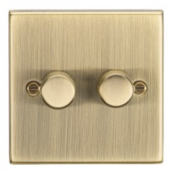 Knightsbridge Decorative Square Edge Antique Brass 2 Gang 2 Way 10-200W Dimmer