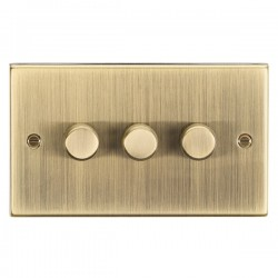Knightsbridge Decorative Square Edge Antique Brass 3 Gang 2 Way 10-200W Dimmer