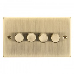 Knightsbridge Square Edge Antique Brass 4 Gang 2 Way 10-200W Dimmer