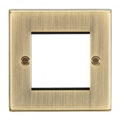 Knightsbridge Decorative Square Edge Antique Brass 2 Gang Modular Plate