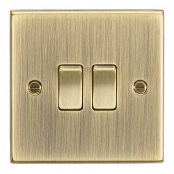 Knightsbridge Square Edge Antique Brass 10A 2 Gang 2 Way Switch
