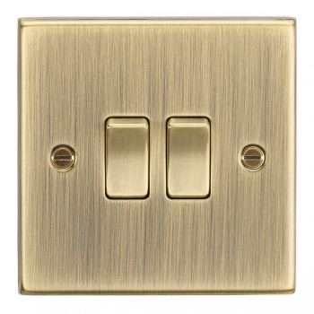 Knightsbridge Decorative Square Edge Antique Brass 10A 2 Gang 2 Way Switch