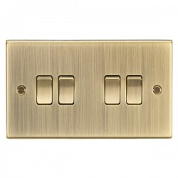 Knightsbridge Decorative Square Edge Antique Brass 10A 4 Gang 2 Way Switch