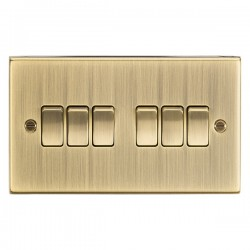 Knightsbridge Square Edge Antique Brass 10A 6 Gang 2 Way Switch