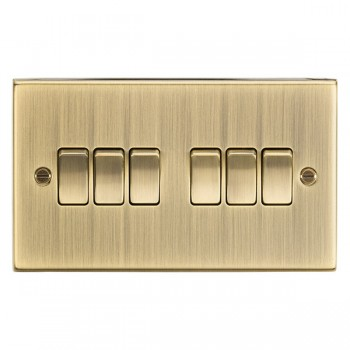 Knightsbridge Decorative Square Edge Antique Brass 10A 6 Gang 2 Way Switch