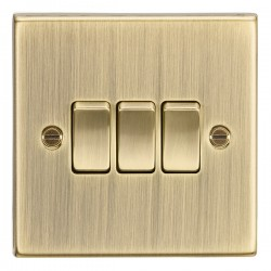Knightsbridge Decorative Square Edge Antique Brass 10A 3 Gang 2 Way Switch