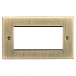 Knightsbridge Decorative Square Edge Antique Brass 4 Gang Modular Plate