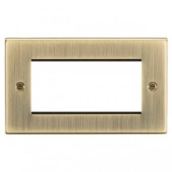 Knightsbridge Decorative Square Edge Antique Brass 4 Gang Modular Plate