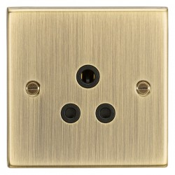 Knightsbridge Decorative Square Edge Antique Brass 5A Round Pin Socket - Black Insert