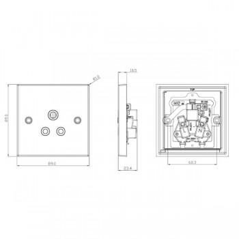 Knightsbridge Decorative Square Edge Antique Brass 5A Round Pin Socket - Black Insert