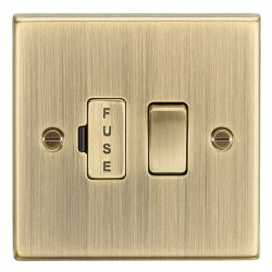 Knightsbridge Decorative Square Edge Antique Brass 13A Switched Fused Spur Unit