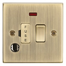 Knightsbridge Decorative Square Edge Antique Brass 13A Switched Fused Spur Unit with Neon and Flex Outlet