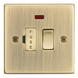 Knightsbridge Decorative Square Edge Antique Brass 13A Switched Fused Spur Unit with Neon
