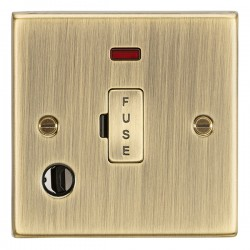 Knightsbridge Decorative Square Edge Antique Brass 13A Fused Spur Unit with Neon and Flex Outlet