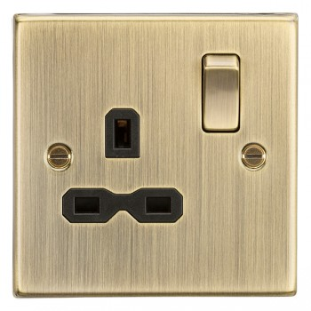 Knightsbridge Decorative Square Edge Antique Brass 13A 1 Gang DP Switched Socket - Black Insert