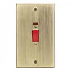 Knightsbridge Decorative Square Edge Antique Brass 45A DP Switch with Neon (Double Plate)
