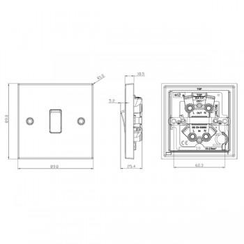 Knightsbridge Decorative Square Edge Antique Brass 20A DP Switch