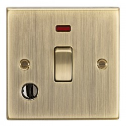 Knightsbridge Square Edge Antique Brass 20A DP Switch with Neon and Flex Outlet