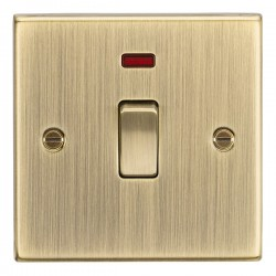 Knightsbridge Decorative Square Edge Antique Brass 20A DP Switch with Neon