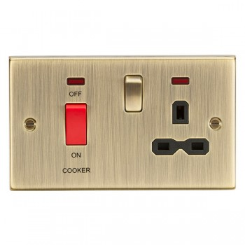 Knightsbridge Decorative Square Edge Antique Brass 45A DP Switch and 13A Switched Socket with Neon - Black Insert