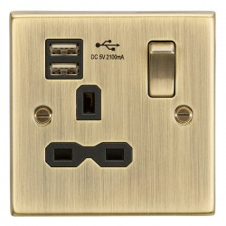 Knightsbridge Decorative Square Edge Antique Brass 13A 1 Gang Switched Socket with Dual USB Charger - Black Insert