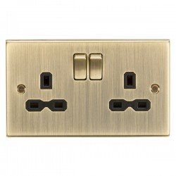 Knightsbridge Decorative Square Edge Antique Brass 13A 2 Gang DP Switched Socket - Black Insert
