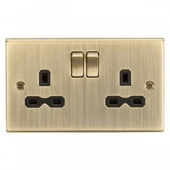 Knightsbridge Square Edge Antique Brass 13A 2 Gang DP Switched Socket - Black Insert