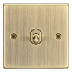 Knightsbridge Decorative Square Edge Antique Brass 10A 1 Gang Intermediate Toggle Switch