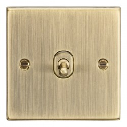 Knightsbridge Decorative Square Edge Antique Brass 10A 1 Gang 2 Way Toggle Switch