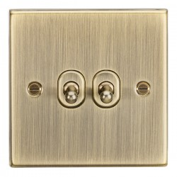 Knightsbridge Decorative Square Edge Antique Brass 10A 2 Gang 2 Way Toggle Switch